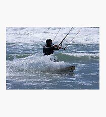 Kitesurfing in the Ocean - Coming Back to Shore Photographic Print