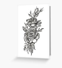 Blackwork Peony Greeting Card