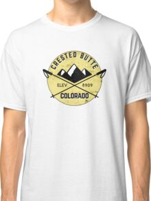 CRESTED BUTTE COLORADO Ski Skiing Mountain Mountains Skiing Crossed Skis Snowboard Snowboarding Classic T-Shirt