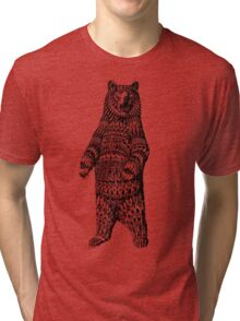 Ornate Grizzly Bear Tri-blend T-Shirt