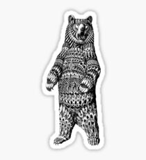 Ornate Grizzly Bear Sticker