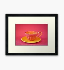 Pink and yellow vintage teacup & saucer Framed Print