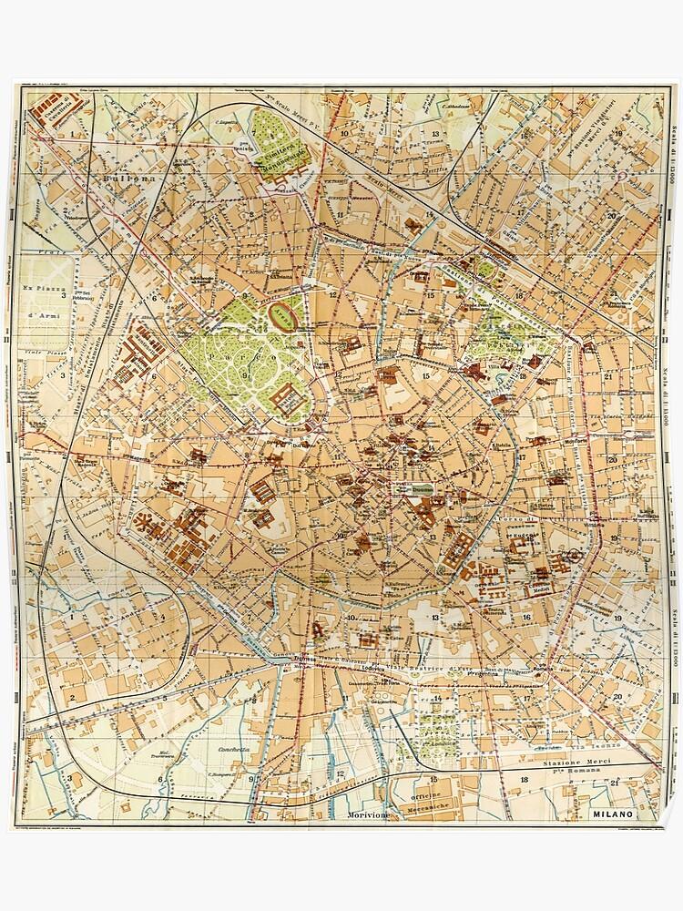 Map 1914.Vintage Map Of Milan Italy 1914 Poster