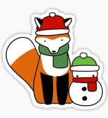 Fox and Snowman Sticker