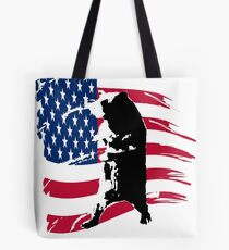 pedals the walking bear amerian flag Tote Bag