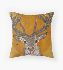 Wild Stag's Head Throw Pillow