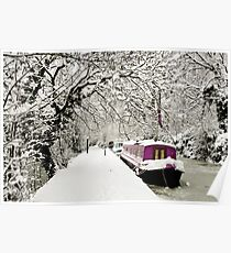 Snowy boat on frozen canal, Oxford Poster