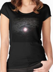 Moon Lit Clouds Women's Fitted Scoop T-Shirt