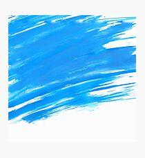 Blue Brush Paint Strokes  Photographic Print