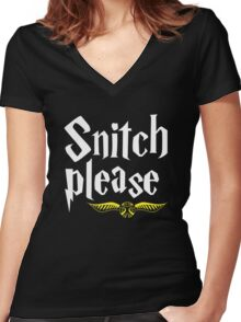 SNITCH PLEASE Women's Fitted V-Neck T-Shirt