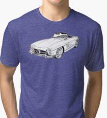 Mercedes Benz 300 SL Convertible Illustration Tri-blend T-Shirt