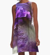 Purple, Violet and Mauve Iris Abstract A-Line Dress