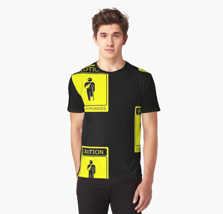 CAUTION is for pussies - single colour version by Octochimp Designs