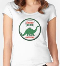 Sinclair Dino Gasoline vintage sign distressed Women's Fitted Scoop T-Shirt
