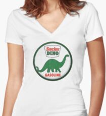 Sinclair Dino Gasoline vintage sign distressed Women's Fitted V-Neck T-Shirt