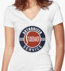 Authorized Studebaker Service vintage sign Women's Fitted V-Neck T-Shirt