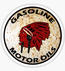 Red Indian Gasoline vintage sign reproduction rusted vers. Sticker