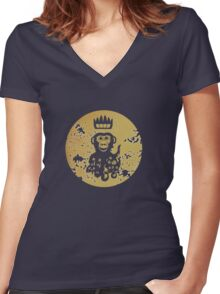 Acid Washed Octochimp Women's Fitted V-Neck T-Shirt