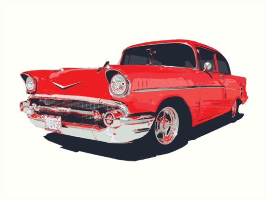 Chevy Bel Air 57 Vector Illustration Art Prints By Htrdesigns