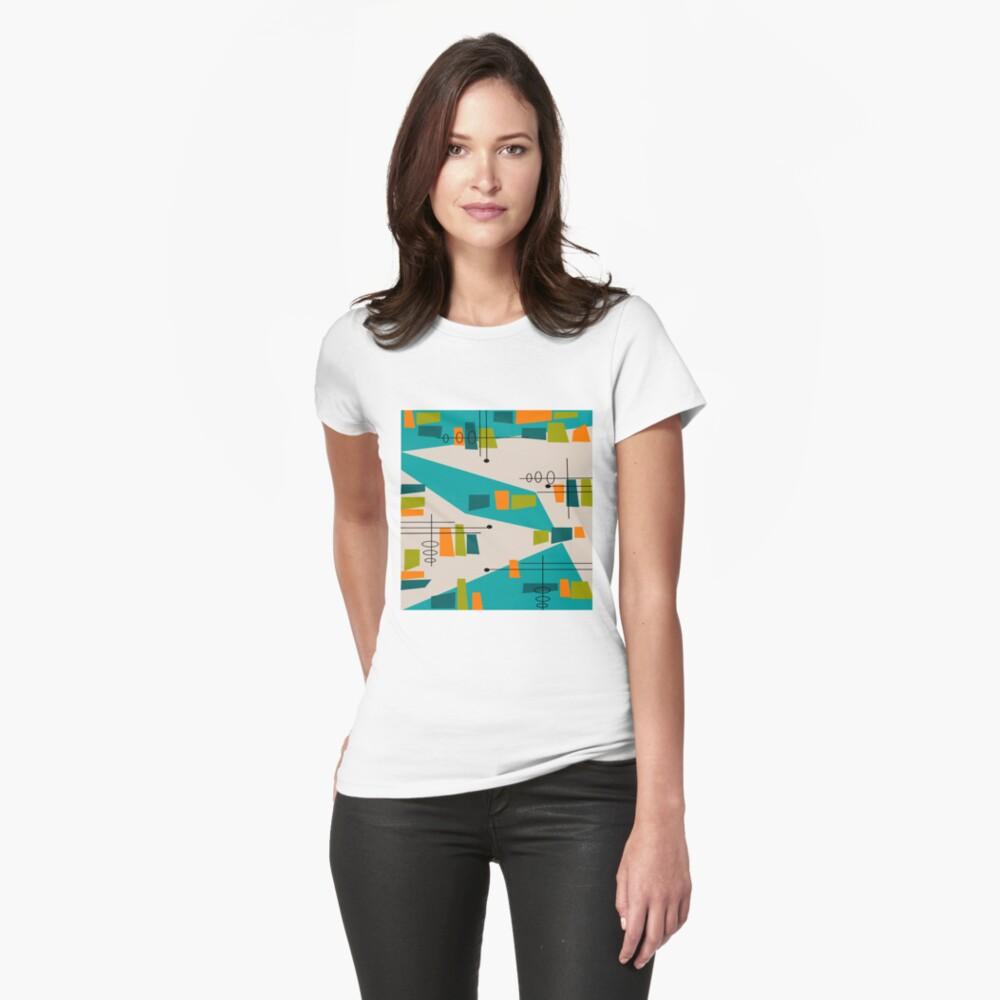 Mid-Century Modern Abstrakt Space Age Tailliertes T-Shirt