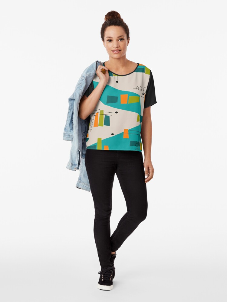 Alternative Ansicht von Mid-Century Modern Abstrakt Space Age Chiffon Top