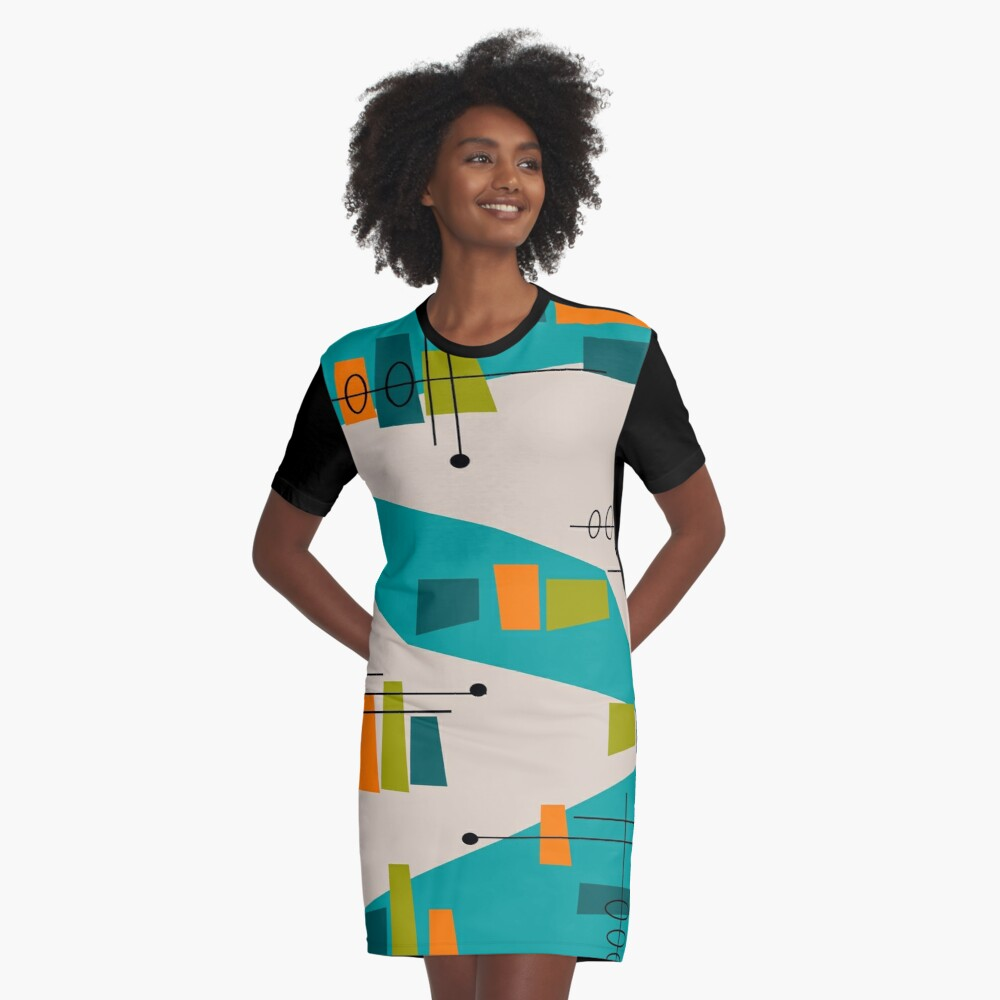 Mid-Century Modern Abstrakt Space Age T-Shirt Kleid