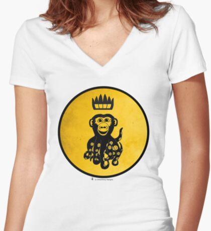King Octochimp Says Hi Women's Fitted V-Neck T-Shirt