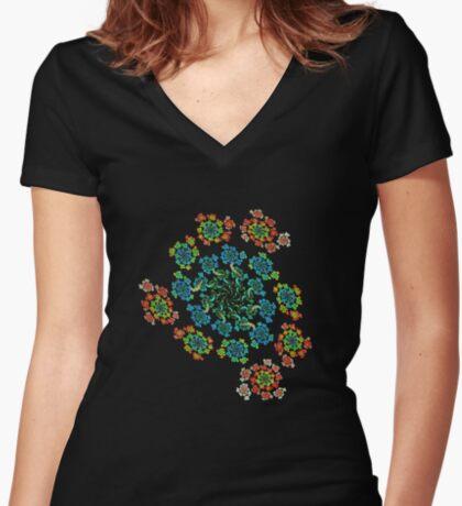 Flowers #Fractal Art Fitted V-Neck T-Shirt
