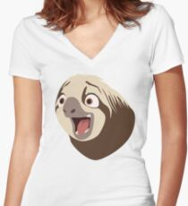 Sloth flash Women's Fitted V-Neck T-Shirt