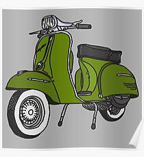 Vespa Illustration - Pesto Green Poster