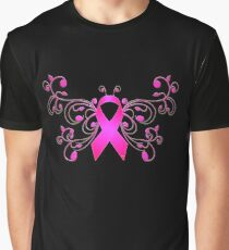 Breast Cancer Butterfly Ribbon Graphic T-Shirt