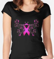 Breast Cancer Butterfly Ribbon Women's Fitted Scoop T-Shirt