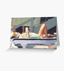 Reading At The Beach Greeting Card
