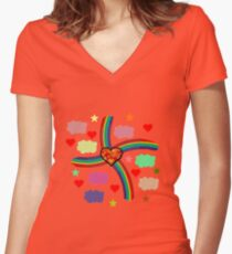 Rainbow Love Utopia Women's Fitted V-Neck T-Shirt