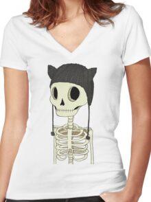 Skeleton Kitty Women's Fitted V-Neck T-Shirt