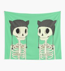 Skeleton Kitty Wall Tapestry