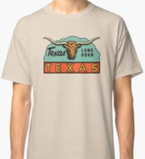 Texas TX State Long Horn Vintage Travel Decal Classic T-Shirt