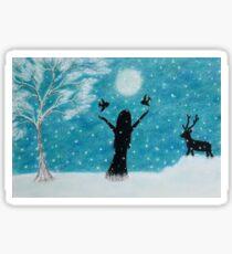 Snow Scene: Girl in Snow with Birds Reindeer and Moon Sticker