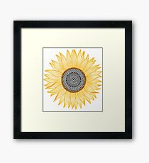 Golden Mandala Sunflower Framed Print