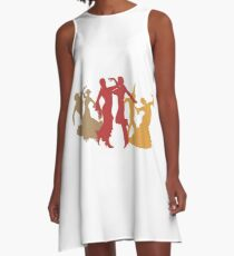Colorful Flamenco Dancers A-Line Dress