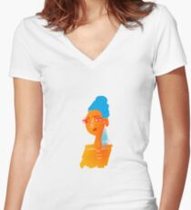 Illustration of beautiful hand drawn woman with blue hair Women's Fitted V-Neck T-Shirt