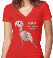 Rhea the Naked Birdie Women's Fitted V-Neck T-Shirt