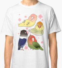 Lovebirds with cherry blossoms Classic T-Shirt