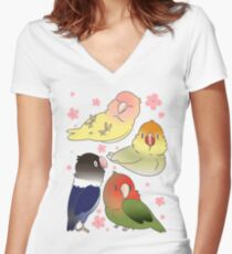 Lovebirds with cherry blossoms Women's Fitted V-Neck T-Shirt