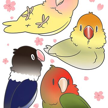 Lovebirds with cherry blossoms by phatbird