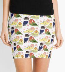Lovebirds with cherry blossoms Mini Skirt