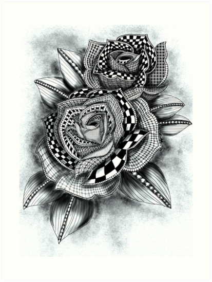 Tattoo Rose Greyscale Art Prints By Bhdigitalart Redbubble