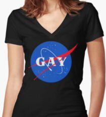 Nasa Gay Pride Logo Women's Fitted V-Neck T-Shirt
