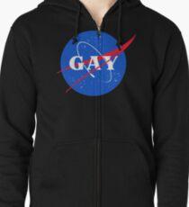 Sudadera con capucha y cremallera Nasa Gay Pride Logotipo