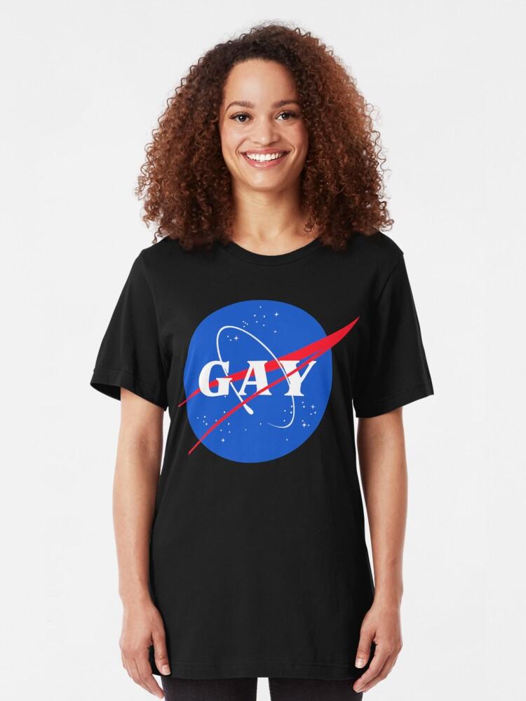Alternative Ansicht von Nasa-Gay-Pride-Logo Slim Fit T-Shirt